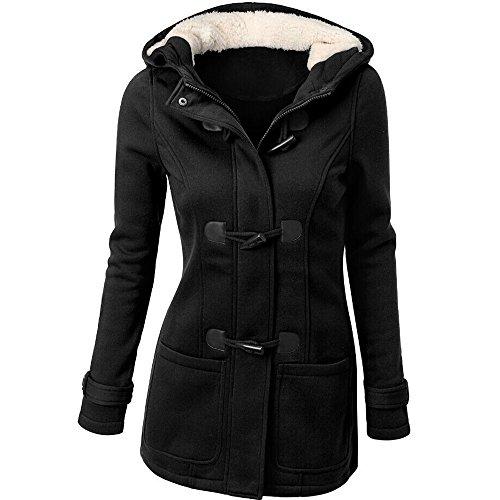 OverDose Forme a mujeres rompevientos prendas de vestir exteriores de lana delgada caliente larga capa chaqueta del foso (XXXL, Negro)