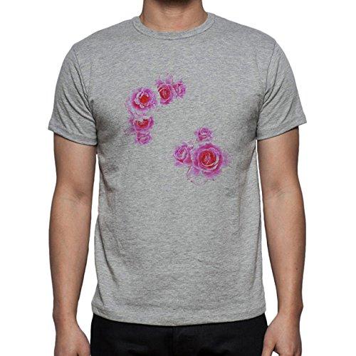 Flowers Nature Blossom Plant Roses Pink Herren T-Shirt Grau