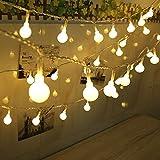 Diolumia- LED Globe Lichterkette Glühbirne kugel mit 50 pcs 5 Meter IP44 pvc mit 8 Funktionen Weihnachten Party Innen Außen Beleuchtung warm-weiß Hochzeit Weihnachtsbaum Globe String Licht