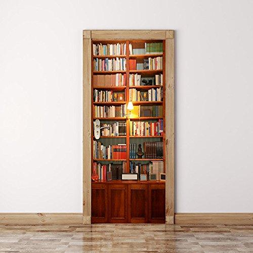 DOGZI Fliesenaufkleber Wandaufkleber Spiegel Aufkleber - 3D Aufkleber Tür Wand Kühlschrank Aufkleber Wrap Wandbild Szene Retro Bücherregal Selbstklebend -