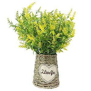 JAROWN – Maceta vintage de flores de lavanda artificiales con cuerda trenzada para decoración del hogar