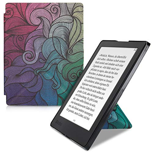 kwmobile Origami Case for Kobo Aura H2O Edition 2 - [Ultra Slim Fit]  Premium [PU Leather] Cover with [Stand] - Dark Pink/Blue/Green