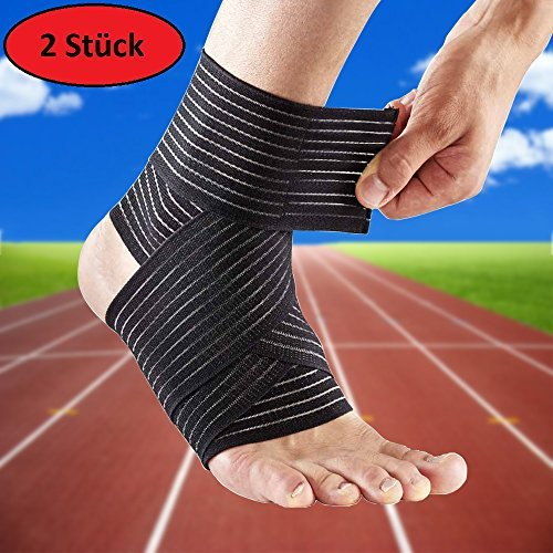 AGIA TEX 2er Set Fuß-Gelenk Stützbandage Knöchel Fußknöchel-Bandage (67cm, Schwarz)