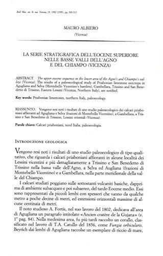 La serie stratigrafica dell'Eocene superiore nelle basse valli dell'Agno e del Chiampo (Vicenza) .