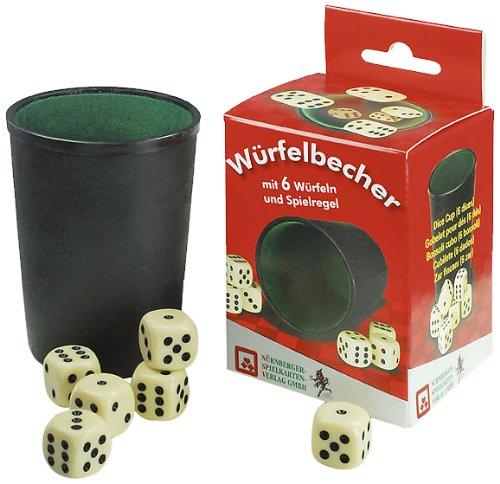 NSV - 8016 - WÜRFELBECHER, Kunststoff mit 6 Würfeln und Anleitung in Faltschachtel - Würfelspiel - Spielkarten Großhandel