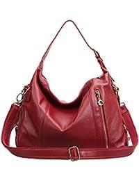 Dissa Q0468,femme rouge véritable de modèle de sac à main en cuir 37x28x14 cm (B x H x T)
