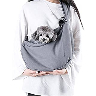 Louvra Dog Sling Carrier Comfortable Pet Puppy Carrier Slings Bag Lightweight Soft Small Dog Cat and Rabbit Hands-free Shoulder Carry Bag with Adjustable Strap,Gray