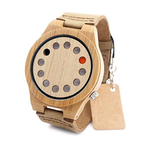 R-timer creative 12 fori design bambù da uomo marrone Cinturino in pelle movimento al quarzo giapponese