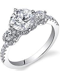 Revoni - Bague de fiançailles Femme - Argent 925/1000 - Diamant de culture