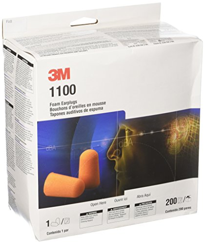 3M 1100 - Lote de 400 tapones para los oídos desechables, espuma (200