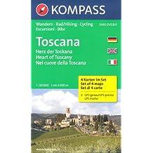 Coeur de la Toscane (Italie) jeu de 4 randonnées et de circuits cartes 1:50.000 KOMPASS # 2440