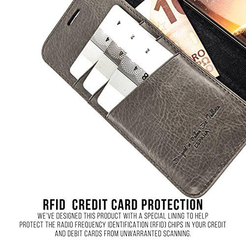 SAMSUNG GALAXY S7 EDGE Étui Portefeuille, QIOTTI Folio Wallet Case avec[ RFID Blocking Protection ] [ Fonction Présentoir ] [ 3 Card Slots ] [ Magnetic Hidden Closure ] [ Faux cuir éco de qualité supé GRIS