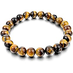 HOT AND BOLD Certified Natural Gem/Semi Precious Stones Strand Tiger Eye Strand Bracelet For Women , Men, Girls, & Boys