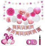 Happy Moment decoration Geburtstagsdeko Set für Mädchen / Frauen,Premium-Qualität, in Rosa und Weiß