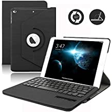 IPad 9.7 Pulgada Teclado Funda, Dingrich Wireless Bluettooth Keyboard 360 Grados Girar Inalámbrico Para Nuevo Apple iPad 9.7 Lanzado en 2017