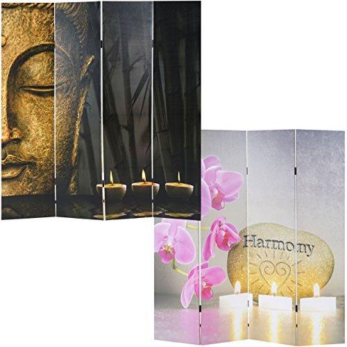 Mendler Foto Paravent Buddha, Paravent Raumteiler Trennwand ~ 180x160 Cm