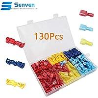 Senven® 130Pcs T-Tap Terminal Cable, T-Tap Empalme Rápido Kit, Grifo de Empalme de Cable Rápido y Conector Macho Spade Completamente Aislado (Rojo 25 Pares, Azul 25 Pares, Amarillo 15 Pares)