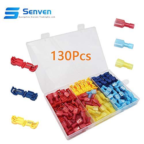 Senven® 130Pcs T-Tap Terminal Cable, T-Tap Empalme Rápido Kit, Grifo de Empalme...