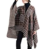 HCFKJ Mantel, Herbst und Winter Mode Frauen Decke Blume Design Coat Wrap Cozy Schal (KH)