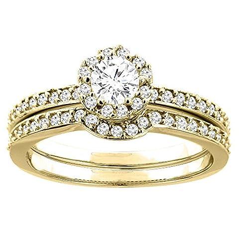 Revoni 14 Karat Gelbgold 3-Stein Brillantschliff Ring Diamant mit Diamanten CY425D25368