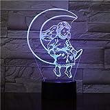 Rulaifozhu Ange de la Lune Année Meilleure Vente Opération Lampes De Chevet Décoration Base Lumineuse Veilleuses Belle Récompenses Bébé 7 Couleurs, LED, Veilleuses De Vision 3D