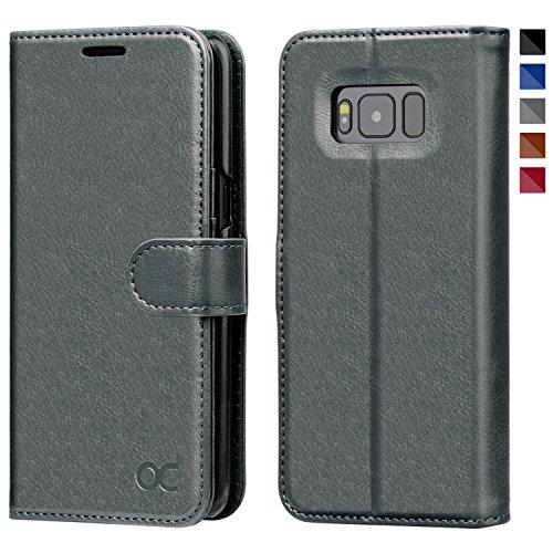 OCASE Samsung Galaxy S8 Hülle, Handyhülle Samsung Galaxy S8 [Premium Leder] [Standfunktion] [Kartenfach] [Magnetverschluss] Schlanke Leder Brieftasche für Samsung Galaxy S8 (5,8 Zoll) (Grau)
