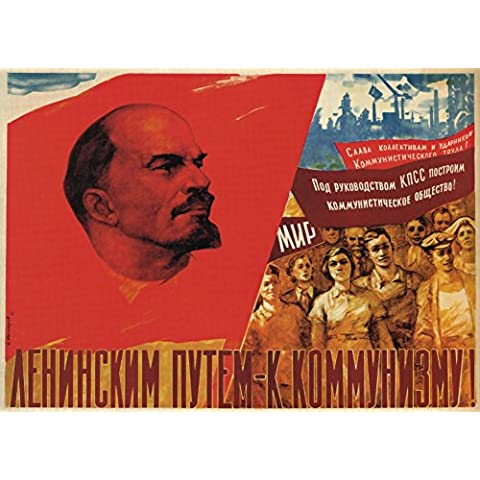 La Propaganda Rusa de la Vendimia Carretera de Lenin al Comunismo, Reproducción sobre Calidad 200gsm de espesor en Cartel A3 Tarjeta