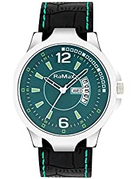 RaMax Analog Stylish Green Dial Day & Date Watch For Men's
