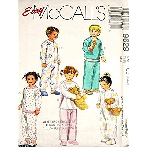 McCall's 9629 Toddler Two-Piece Pajamas and One-Piece Pajamas w/ Optional Snap Crotch Sewing Pattern Size 1-2-3 by McCall's
