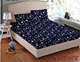 #10: Gharshingar 140 TC Royal Blue Star Printed Cotton Single Bedsheet with Pillow Cover