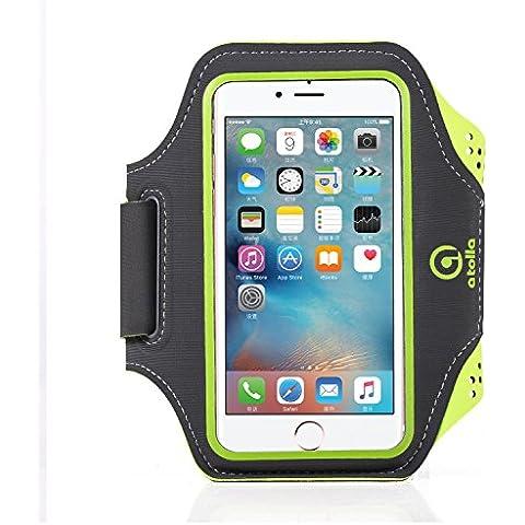 Atolla Brazalete Running Deportivo móvil para iPhone 6 6S SE 5 5s Samsung Galaxy S5 S6 y móviles debajo 5,1 pulgadas cómodo Lycra con banda ajustable para Correr ciclo Gimnasio
