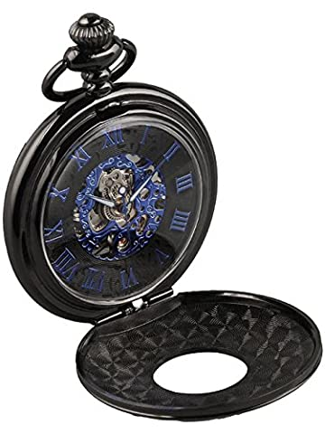 Alienwork Retro mechanical Hand-wind Pocket Watch Skeleton men watches engraved Metal blue black W891B-01