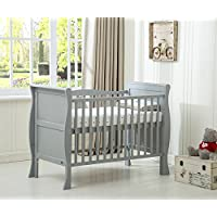 MCC® Grey Solid Wooden Baby Cot Bed Savannah Sleigh Cotbed Toddler Bed & Premier Water Repellent Mattress - Made in England