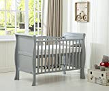 MCC Grey Solid Wooden Baby Cot bed Savannah Sleigh Cotbed Toddler Bed & Premier Water repellent Mattress Made in England