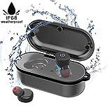 Sport Bluetooth Kopfhörer,IP68 Wasserdicht Schwimmen Earbuds,Eingebautes Mikrofon Schweißfest Stable Fit In Ear Workout Headsets mit Wireless Ladestation für Schwimmen Baden Fahren Sauna