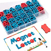 FUQUN Classroom Magnetic Letters kit with Double-Side Magnet Board - Foam Alphabet Letters for Kids Spelling and Learning(208pcs in Box)