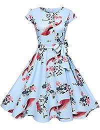 e0b7271950138 RoseGal Vintage Round Collar Cap Sleeve Bird Floral Print Belted Women A-line  Dress
