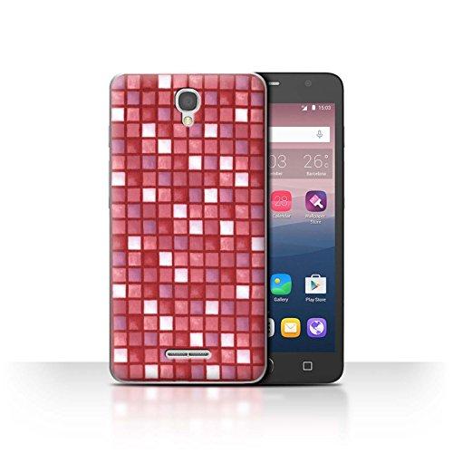 Stuff4 Hülle / Case für Alcatel Pop Star 3G / Rot Muster / Bad Fliesen Kollektion -