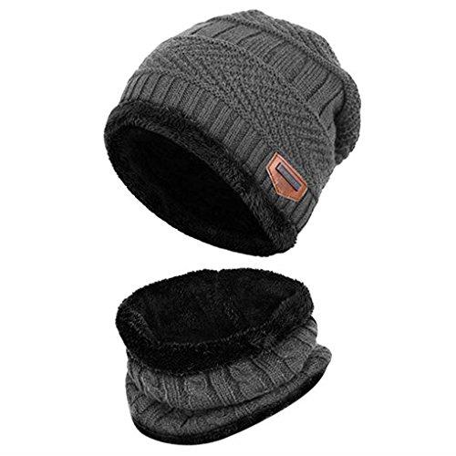 Acexy cappello uomo invernali 2 pezzi cappello sciarpa uomo maglia e sciarpa a forma di set all'aperto berretto