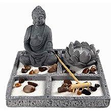 OM HOME Jardin Zen Figura Buda en Bandeja Cuadrada,con portavela en Forma de Flor