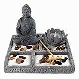 OM HOME Jardin Zen Figur Buddha auf quadratischem Tablett, mit Kerzenhalter in Lotusblume, Robbe und Sand Dekoration