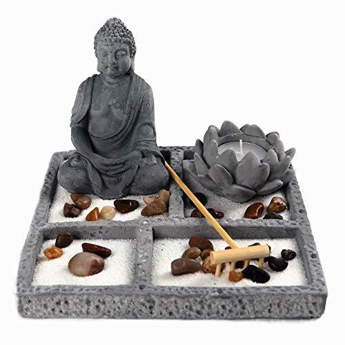 OM HOME Jardin Zen Figura Buda en Bandeja Cuadrada,con portavela en Forma de Flor de Loto, Roca y Arena decoración