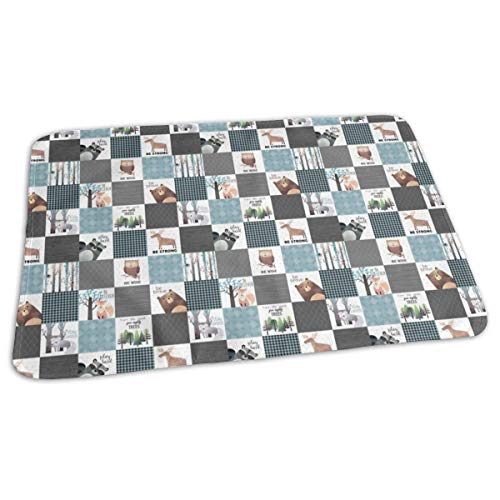 Blocks- Woodland Critters Patchwork Quilt - Bear Moose Fox Raccoon Wolf, Gray U0026 Blue Design Baby Portable Reusable Changing Pad Mat 19.7X 27.5 inch -