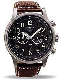 Davis 0451 - Reloj Aviador Hombre 48mm Cronógrafo Sumergible 50M Correa de Piel Marrón