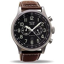 Davis-0451- Reloj Hombre Aviador 48mm – Cronógrafo Sumergible 50M – Correa de Piel Marrón con pespunte