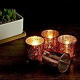 Set mit 12 gesprenkelten Teelichthaltern | Stilvolle Kerzenhalter aus Glas | Tisch & Heimtextilien | Moderne Wohnaccessoires | M&W (Roségold) - 3