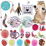 ASANMU Katzenspielzeug, 20 Stück Katzen Spielzeug Variety Pack für Kitty Interaktives Spielzeug mit Federn Maus Katze Katzenteaserstab Plüschspielzeug Katzenspielzeug Bälle Set Spielzeug für Katzen