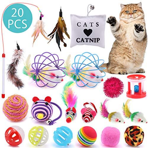 ASANMU Katzenspielzeug, 20 Stück Katzen Spielzeug Variety Pack für Kitty Katzenspielzeug Interaktiv Ball Interaktives Spielzeug mit Federn Maus Katze Toys Katzenspielzeug Set Spielzeug für Kitten