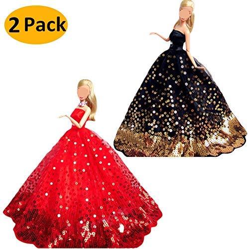 Abbigliamento per bambole, 2 pacchi abito di cerimonia nuziale handmade del partito di ricamo del pannello esterno del vestito da cerimonia nuziale di modo con paillettes per barbie dolls-nero+rosso