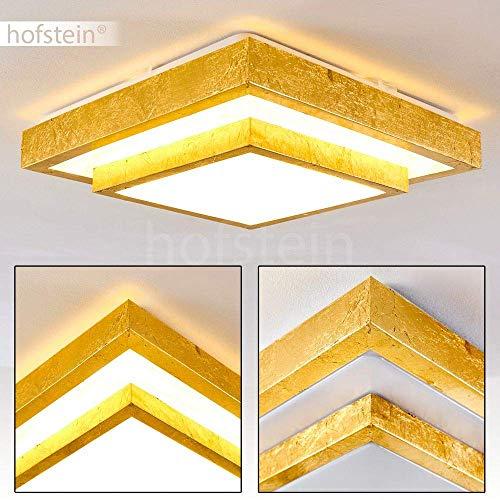 Plafoniera led sora quadrata di colore oro spazzolato, lampada da soffitto con 2-gradini/livelli, lustro moderno per bagno, salotto, camera da letto - 3000 kelvin luce bianca calda